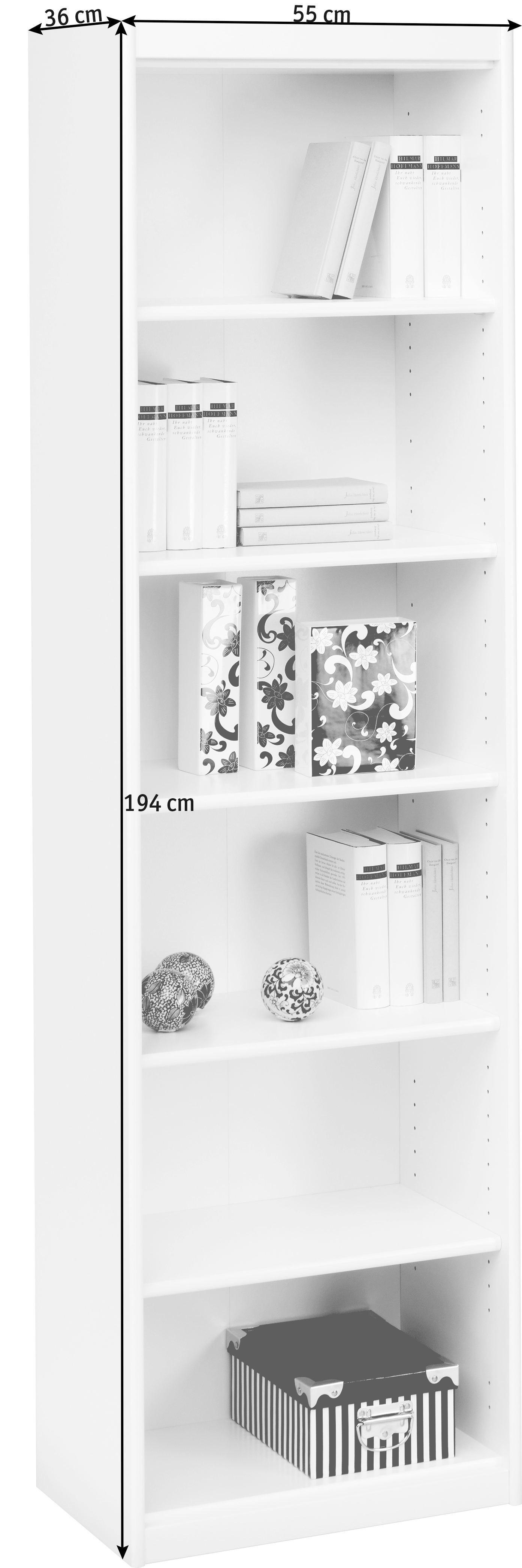 REGAL in Weiß - Weiß, KONVENTIONELL, Holzwerkstoff (55/194/36cm) - CS SCHMAL