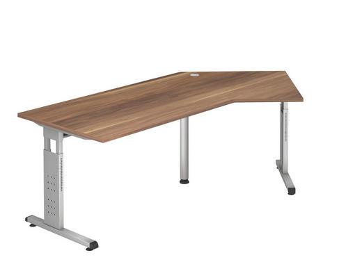 SCHREIBTISCH - Silberfarben/Zwetschgefarben, KONVENTIONELL, Holzwerkstoff/Metall (210/65-85/113cm)