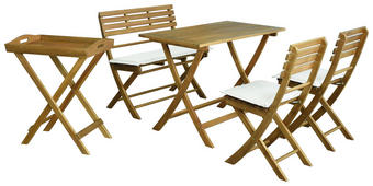 GARTENSET  5-teilig - Beige/Akaziefarben, KONVENTIONELL, Holz/Textil - Ambia Garden