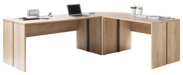 SCHREIBTISCHKOMBINATION in Holzwerkstoff 241/200/75/80 cm  - Eichefarben, Design, Holzwerkstoff (241/200/75/80cm) - Xora