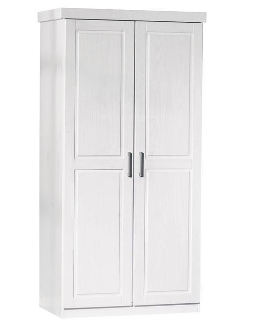 DREHTÜRENSCHRANK 2-türig Kiefer massiv Weiß - Alufarben/Weiß, LIFESTYLE, Holz/Metall (95/190/55cm) - Carryhome