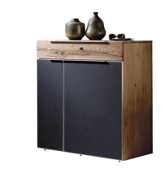 KOMMODE Altholz, Eiche massiv, mehrschichtige Massivholzplatte (Tischlerplatte) Anthrazit, Eichefarben - Eichefarben/Anthrazit, Design, Glas/Holz (96/98/42,5cm) - Voglauer