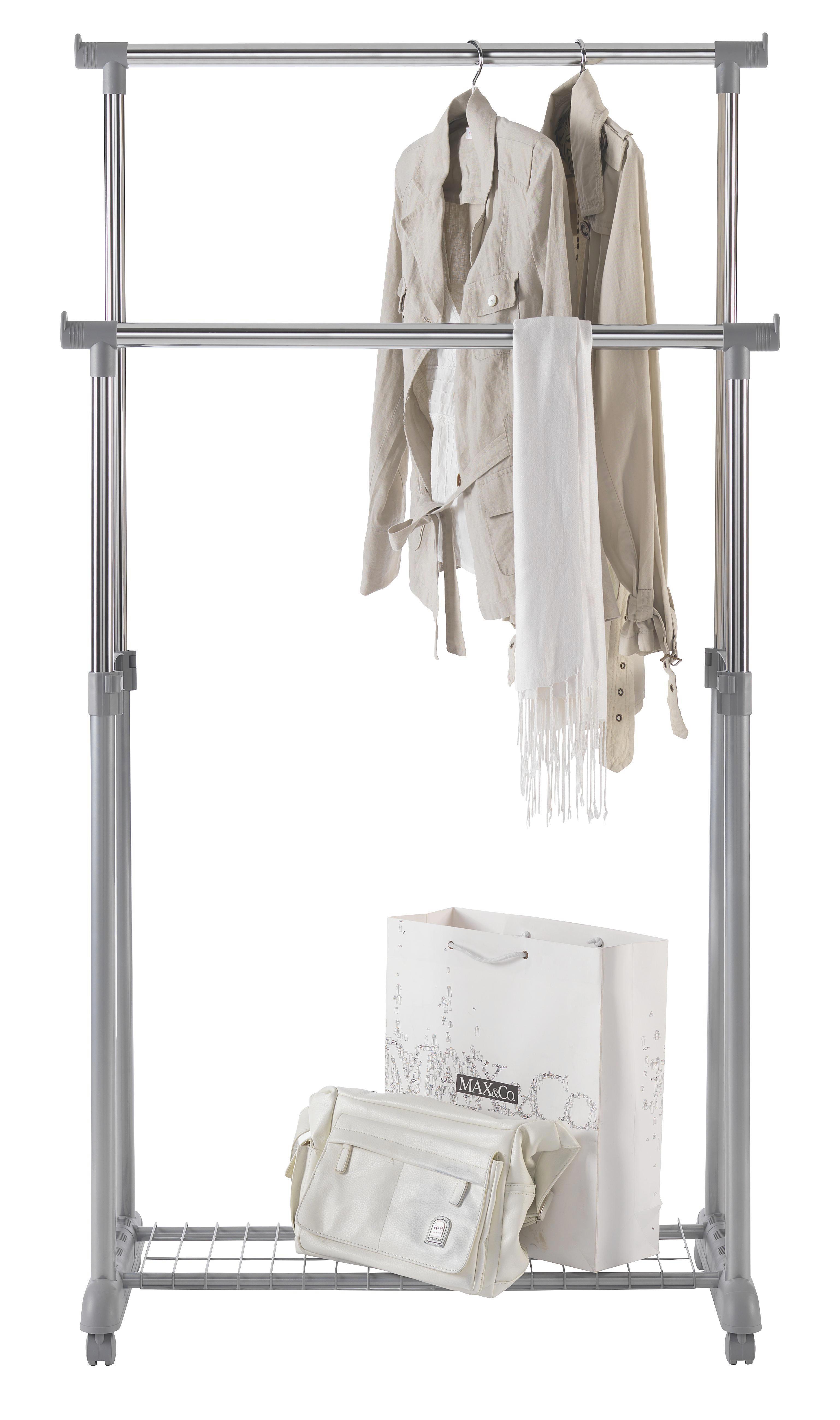 VJEŠALICA NA KOTAČIĆIMA - siva/boje kroma, Design, metal/plastika (83/93/168/43cm) - BOXXX