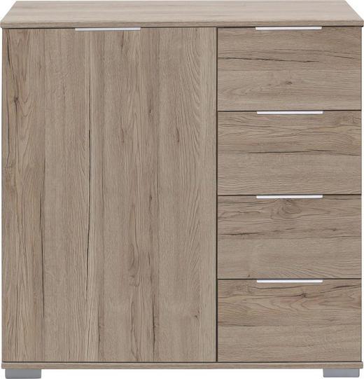 KOMMODE Eichefarben - Chromfarben/Eichefarben, Design, Holzwerkstoff/Kunststoff (81/83/41cm) - CARRYHOME