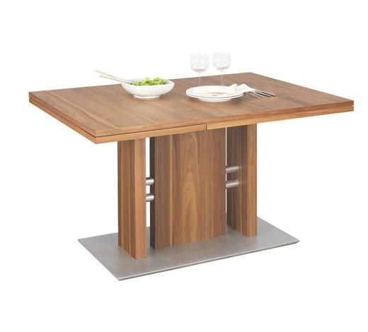ESSTISCH in Holzwerkstoff, Metall 130(180)/90/75 cm - Edelstahlfarben/Nussbaumfarben, Design, Holzwerkstoff/Metall (130(180)/90/75cm)
