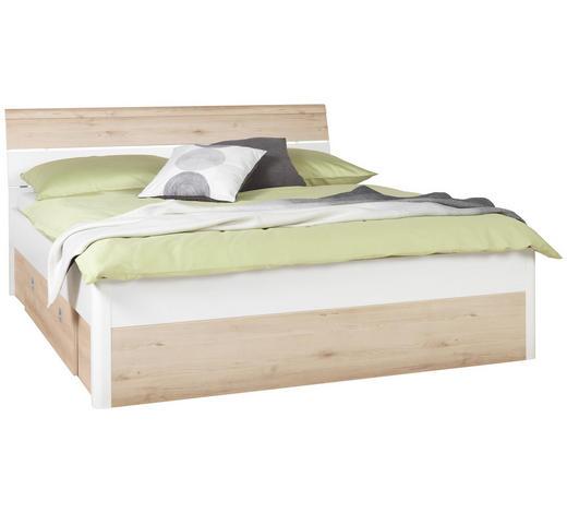 BETT 180/200 cm  in Weiß, Buchefarben - Buchefarben/Weiß, Design, Holz/Holzwerkstoff (180/200cm) - Ti`me