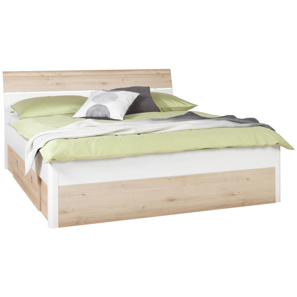 Gut Bett 180 Cm X 200 Cm In Holz Buchefarben, Weiß