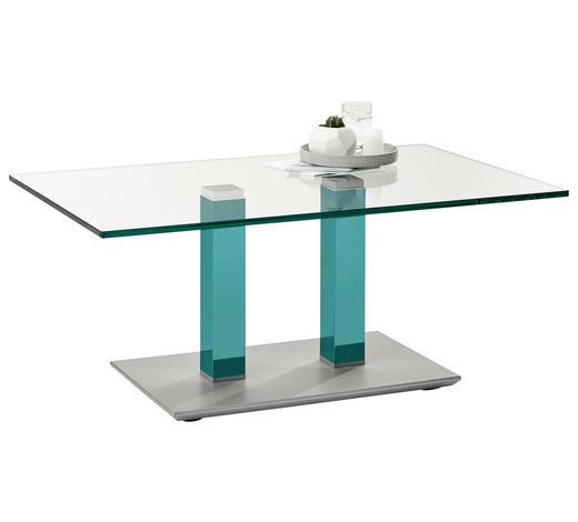 COUCHTISCH in Metall, Glas 110/70/46-65 cm - Türkis/Edelstahlfarben, Design, Glas/Kunststoff (110/70/46-65cm)