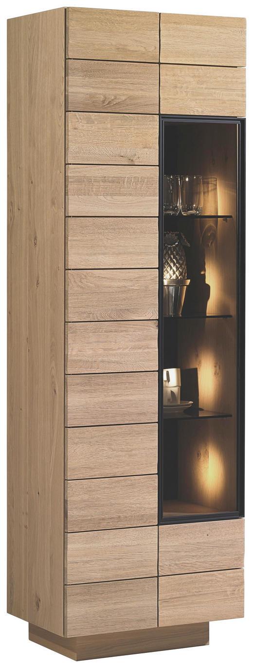 VITRINE Wildeiche massiv, mehrschichtige Massivholzplatte (Tischlerplatte) Eichefarben - Eichefarben, Design, Glas/Holz (64/201,6/42,5cm) - VOGLAUER