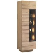 VITRINE Wildeiche massiv, mehrschichtige Massivholzplatte (Tischlerplatte) Eichefarben  - Eichefarben, Natur, Glas/Holz (64/201,6/42,5cm) - Voglauer