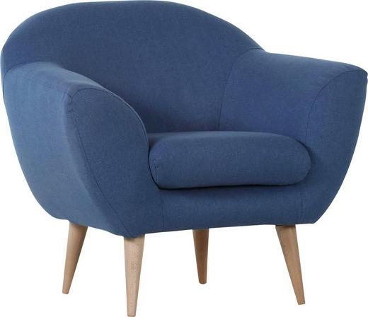 SESSEL Flachgewebe Blau - Blau/Naturfarben, Design, Holz/Textil (87/78/80cm) - Carryhome