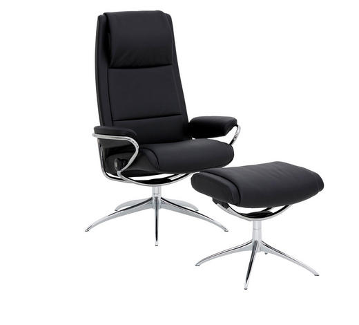 SESSELSET PARIS Echtleder Hocker    - Schwarz, Design, Leder/Metall (80/114/74cm) - Stressless