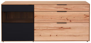SIDEBOARD Kernbuche vollmassiv matt, lackiert, gebürstet, gewachst Anthrazit, Buchefarben  - Anthrazit/Buchefarben, Design, Glas/Holz (185/81/49cm) - Valnatura