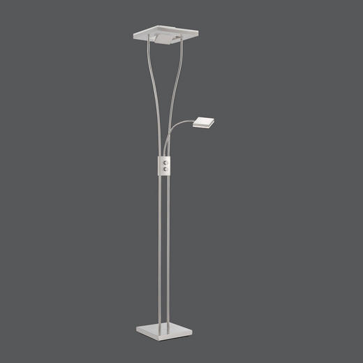 LED-STEHLEUCHTE - Nickelfarben, LIFESTYLE, Metall (29/29/180cm)