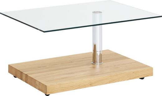 Couchtisch in 100/44-64/70 cm Chromfarben, Eichefarben - Chromfarben/Eichefarben, Design, Glas/Holzwerkstoff (100/44-64/70cm)