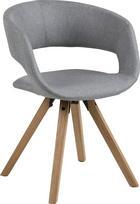 STUHL Webstoff Hellgrau - Eichefarben/Hellgrau, Design, Holz/Textil (53/75/43cm) - Carryhome