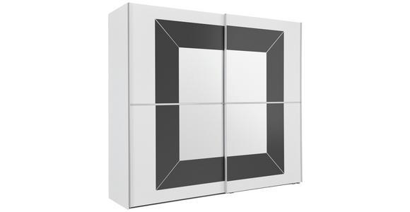 SCHWEBETÜRENSCHRANK in Grau, Weiß  - Alufarben/Weiß, KONVENTIONELL, Glas/Holzwerkstoff (251/223/68cm) - Cantus