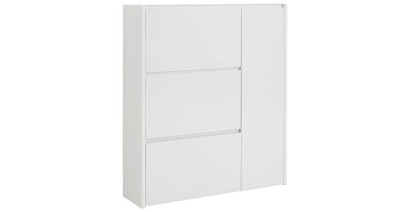 SCHUHSCHRANK 99,7/113,7/28 cm - Weiß, Design, Glas/Holzwerkstoff (99,7/113,7/28cm) - Voleo