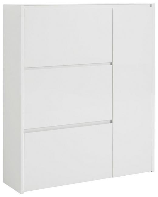 SCHUHSCHRANK Hochglanz, lackiert Weiß - Weiß, Design, Glas/Holzwerkstoff (99,7/113,7/28cm) - Voleo