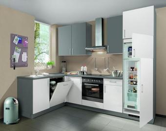 KUHINJA KUTNA - bijela/antracit, Moderno, drvni materijal (177/162cm) - Welnova