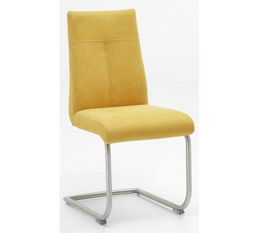 SCHWINGSTUHL Gelb, Edelstahlfarben  - Edelstahlfarben/Gelb, Design, Textil/Metall (46/97/62cm) - Valdera