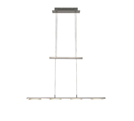 LED-HÄNGELEUCHTE - Weiß/Nickelfarben, Design, Kunststoff/Metall (87/150/8cm)