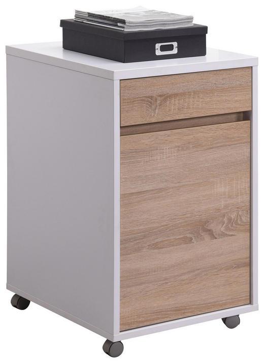 ROLLCONTAINER Sonoma Eiche, Weiß - Weiß/Sonoma Eiche, Design, Holzwerkstoff/Kunststoff (45/76/60cm) - CARRYHOME