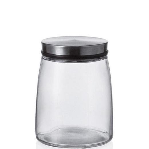 VORRATSDOSE 1,0 L - Klar/Silberfarben, Basics, Glas/Metall (12,5/16/12,5cm)