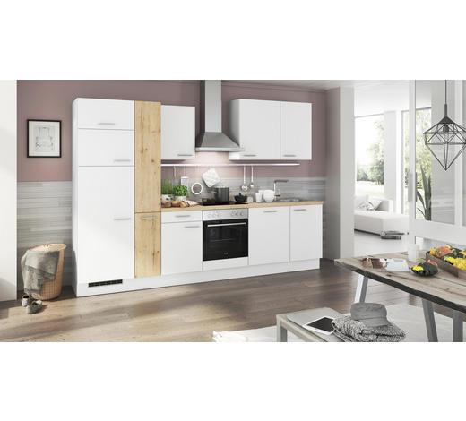 KÜCHENBLOCK E-Geräte, Spüle, Soft-Close-System   - Eichefarben/Weiß, Design (310cm) - Stylife