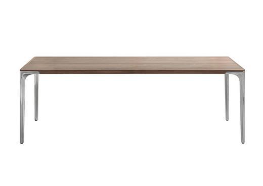 ESSTISCH in Holz, Metall - Nussbaumfarben/Alufarben, Design, Holz/Metall (220/95/74cm) - Hülsta