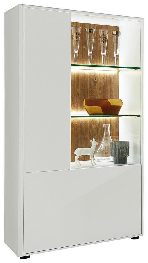 VITRINE in Eichefarben, Weiß - Chromfarben/Eichefarben, Design, Glas/Holzwerkstoff (75/147/42cm) - Hom`in
