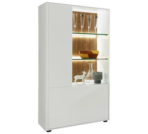 VITRINE in Weiß, Eichefarben  - Chromfarben/Eichefarben, Design, Glas/Holzwerkstoff (75/147/42cm) - Hom`in