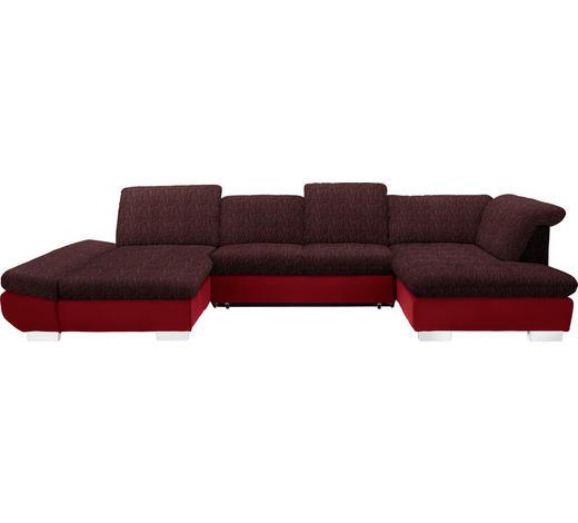 WOHNLANDSCHAFT in Textil Rot  - Chromfarben/Rot, Design, Kunststoff/Textil (204/350/211cm) - Xora