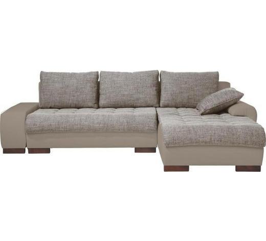 WOHNLANDSCHAFT in Textil Braun, Grau - Wengefarben/Braun, Design, Holz/Textil (278cm) - Carryhome