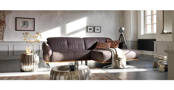 WOHNLANDSCHAFT in Textil Anthrazit, Currygelb - Chromfarben/Currygelb, Design, Textil/Metall (281/186cm) - Hom`in