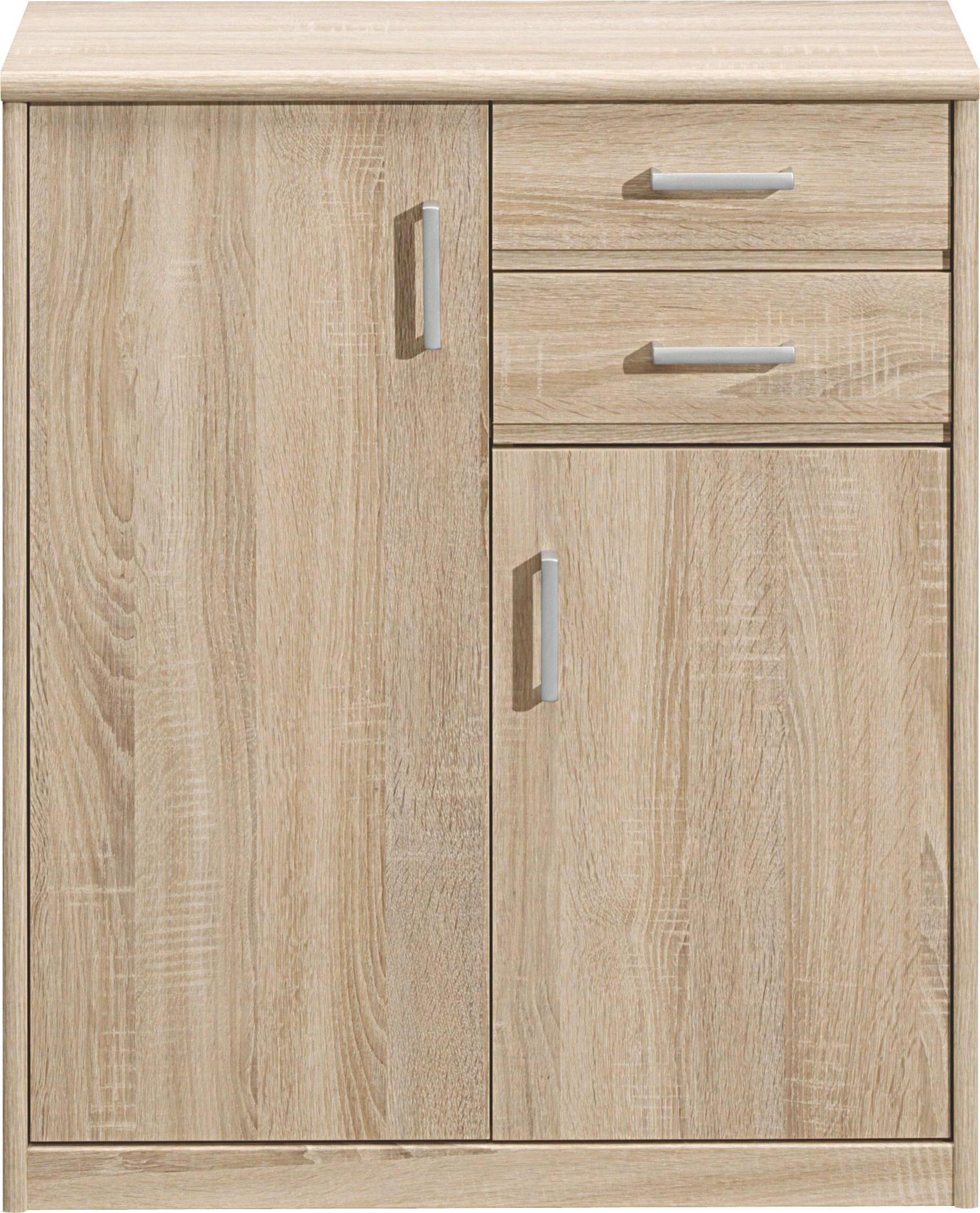 KOMMODE Eichefarben - Eichefarben/Silberfarben, Design, Holz/Holzwerkstoff (72/84/36cm) - CS SCHMAL