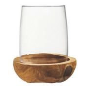 WINDLICHT - Klar/Teakfarben, Basics, Glas/Holz (25/30/25cm) - Leonardo