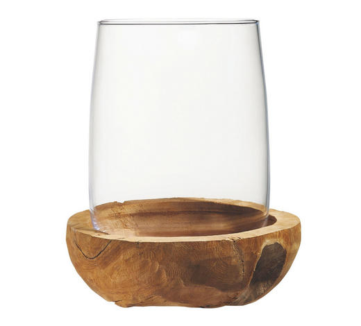 WINDLICHT - Klar/Teakfarben, LIFESTYLE, Glas/Holz (25/30/25cm) - Leonardo
