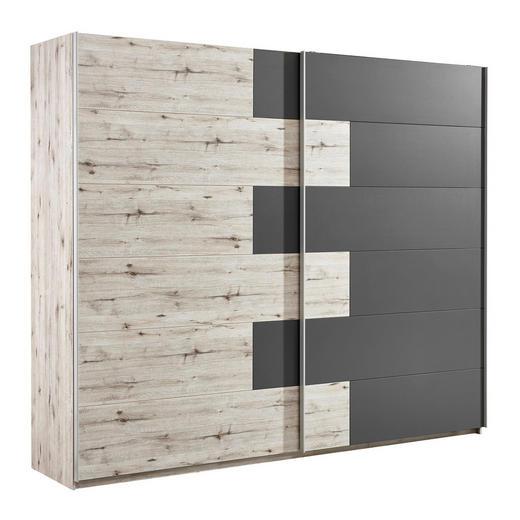 SCHWEBETÜRENSCHRANK 2-türig Dunkelbraun, Eichefarben - Eichefarben/Dunkelbraun, Design, Holzwerkstoff/Metall (270/225/61cm) - Carryhome