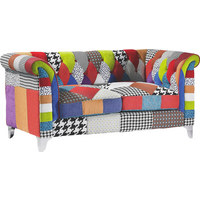 ZWEISITZER-SOFA Webstoff Multicolor - Silberfarben/Multicolor, Design, Textil/Metall (167/79/86cm) - Carryhome