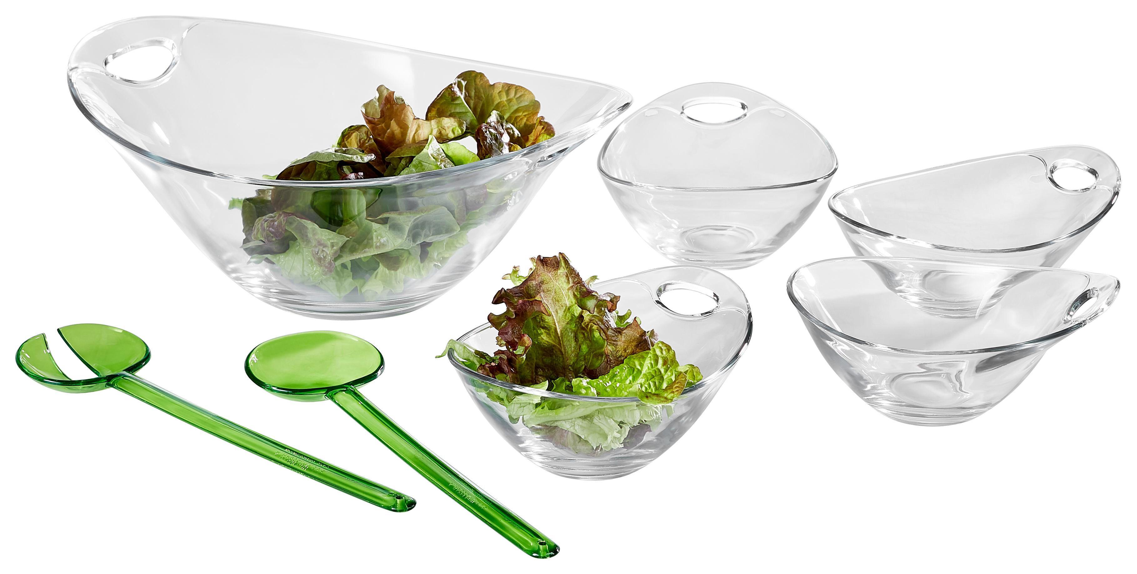 SCHÜSSELSET Glas, Kunststoff 6-teilig - Transparent/Grün, Basics, Glas/Kunststoff - NOVEL