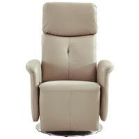 Relaxsessel in Chromfarben, Schlammfarben Leder, Metall, Textil - Chromfarben/Schlammfarben, Design, Leder/Textil (82/120/95cm) - Xora