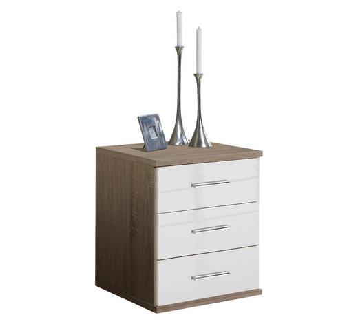 KOMODA, bílá, barvy dubu - bílá/barvy dubu, Design, kompozitní dřevo/umělá hmota (46/55/40cm) - Xora