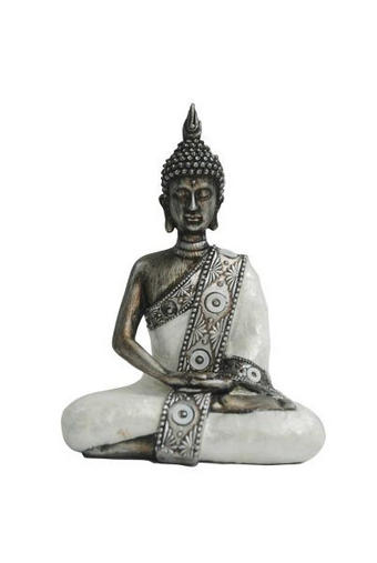 BUDDHA - vit/silver, Lifestyle, plast (14,5/8,5/20,5cm) - Ambia Home