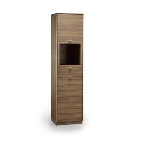 VITRINSKÅP - alufärgad/valnötsfärgad, Lifestyle, metall/trä (50/200/44cm) - Skovby