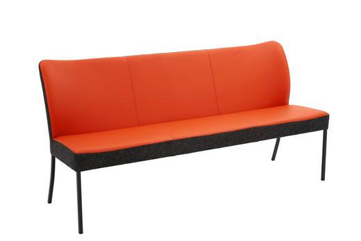 SITZBANK Webstoff Echtleder Anthrazit, Orange - Anthrazit/Orange, Design, Leder/Textil (180/89/65cm) - Bert Plantagie