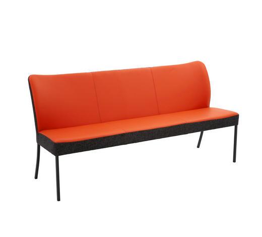 SITZBANK  in Anthrazit, Orange - Anthrazit/Orange, Design, Leder/Textil (180/89/65cm) - Bert Plantagie