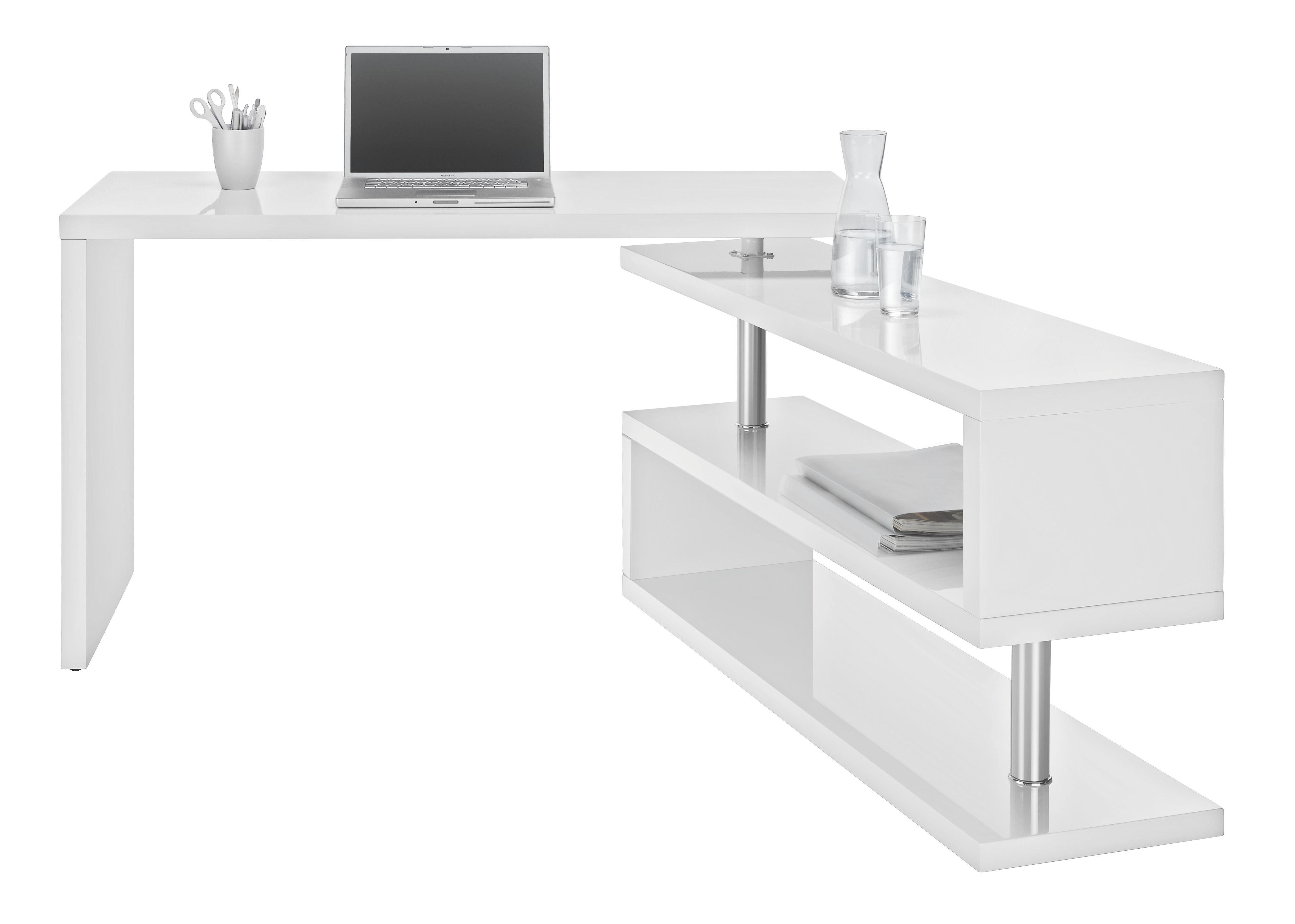SKRIVBORD - vit/kromfärg, Design, metall/träbaserade material (130/76/128,5cm) - Mömax modern living