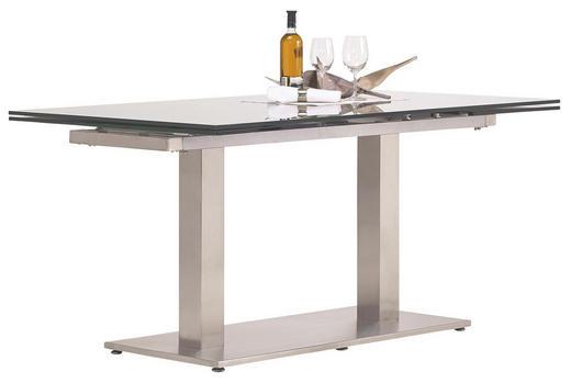 ESSTISCH rechteckig Edelstahlfarben, Grau - Edelstahlfarben/Grau, Design, Glas/Metall (160(250)/90/77cm) - Dieter Knoll