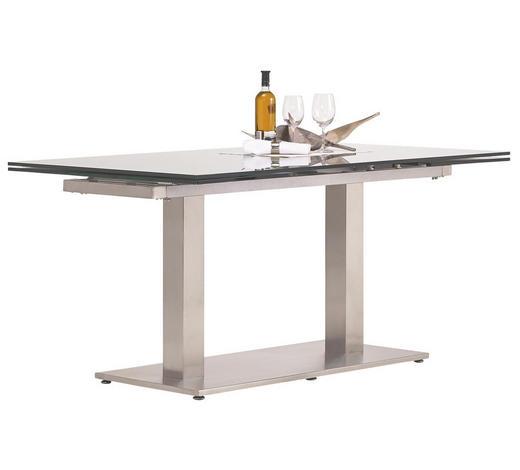 ESSTISCH in Metall, Glas 160(250)/90/77 cm   - Edelstahlfarben/Grau, Design, Glas/Metall (160(250)/90/77cm) - Dieter Knoll